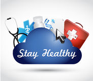 Stay healthy cloud medicine illustration Stock Image