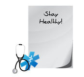 Stay healthy medial paper illustration Stock Image