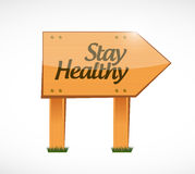Stay healthy wood sign illustration design Royalty Free Stock Photo