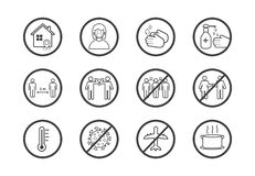 Coronavirus COVID-19 Prevention concept. Flat line icons set. Social distancing, Stay at home, Avoid crowds, Wash hands. Vector illustration