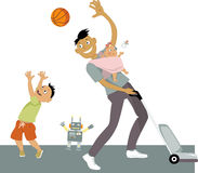 Stay at home Dad. Stay-at-home dad with a baby in a sling, vacuuming and playing ball with his son, vector cartoon, no transparencies, EPS 8 Royalty Free Stock Images