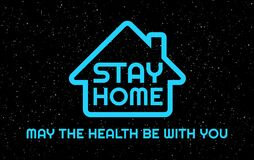 Free Stay Home, May The Health Be With You -  Humor Vector Illustration - Neon Blue Stay Home Letters In The Night Sky Background Stock Photos - 182502023