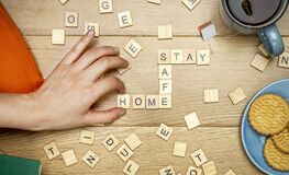 Free Stay Home Stay Safe Concept. Quarantine Against Coronavirus Covid-19 In The World With A Call To Stay And Work At Home Cozy. Royalty Free Stock Image - 177563326