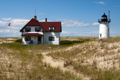 Stay at Keeper's House Near Race Point Light in Provincetown. Visitors to Cape Cod can stay near Race Point lighthouse in the keeper's house in royalty free stock photography