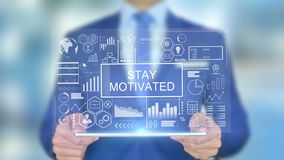 Stay Motivated, Businessman with Hologram Concept. Futuristic stock footage