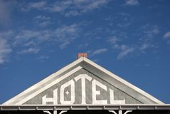 Stay the Night. Old Hotel sign in South Dakota, USA stock images