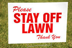 Stay Off The Lawn Sign Stock Photo