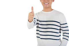 Stay optimistic. Cropped image of optimistic man showing thumbs-up Stock Photo
