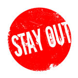 Stay Out rubber stamp. Grunge design with dust scratches. Effects can be easily removed for a clean, crisp look. Color is easily changed Stock Photo