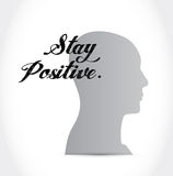 Stay positive brain sign illustration design Royalty Free Stock Image