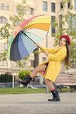 Stay positive fall season. Colorful fall accessory positive influence. Ways brighten your fall mood. Girl child long. Hair ready meet fall weather with umbrella royalty free stock photo