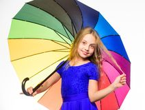 Stay positive fall season. Ways to brighten your fall mood. Girl child ready meet fall weather with colorful umbrella stock photo