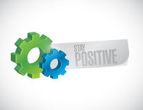 Stay positive gear sign illustration design Royalty Free Stock Photos