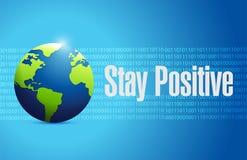 Stay positive globe binary sign illustration Stock Image