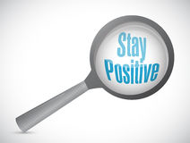 Stay positive magnify glass sign Stock Photography