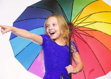 Stay positive though autumn rain season. Bright accessory for autumn. Ideas how survive cloudy autumn day. Small girl. With umbrella rainy day weather. Little royalty free stock image