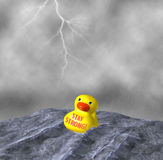 Stay Strong Be Tough Yellow Duck Afloat Rainstorm Illustration. Despite the merciless torrential rain and high seas, our yellow duck stayed strong and tough Royalty Free Stock Images