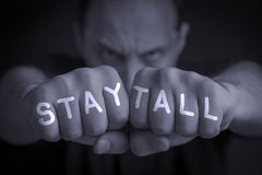 STAY TALL written on an angry man's fists. STAY TALL written on the fingers of an angry man's fists. Gray colored. Message concept image Stock Image