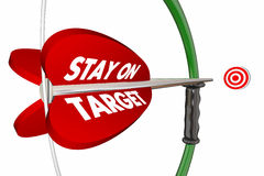 Stay on Target Aim Focus Success Bow Arrow. 3d Illustration Royalty Free Stock Photos