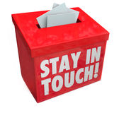 Stay in Touch Box Letters Messages Notes Communication. Stay in Touch words on a box for messages, letters or notes keeping you updated with communication Royalty Free Stock Photos