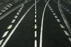 Stay on Track. Running Track at turns zooming in Stock Images