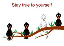 Stay true to yourself. The illustration dedicated to the  white crow Stock Image