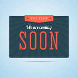 Stay tuned, we are coming soon label in flat style. Stock Photo