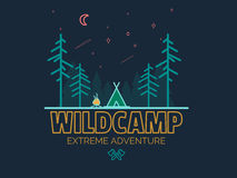 Stay Wild Camping Child ,Hand Drawn t Shirt Print,camping and adventure forest badge logo, emblem logo, label design. Vector illustration Royalty Free Stock Images