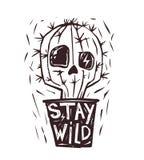 Stay Wild. Hand drawn cactus. Skull. Print Stock Photos