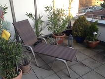 Staycation. A sun lounger on a balcony in summer with palms and plants around Stock Photo