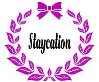 STAYCATION with pink laurels ribbon and bow. Royalty Free Stock Photos