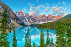 Golden Sunrise Over the Canadian Rockies at Moraine Lake in Canada