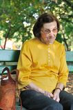 Staying alone - worried senior woman Royalty Free Stock Photo