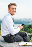 Staying connected anytime and anywhere. Stock Photos