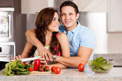 Staying in and cooking dinner Royalty Free Stock Photo