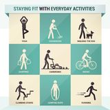 Staying fit. With everyday activities with sample exercises and stick figures royalty free illustration