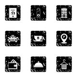 Staying in hotel icons set, grunge style Royalty Free Stock Photography