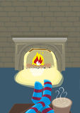 Staying Indoor with Fireplace during Winter Season. Editable Clip Art. Stock Photos