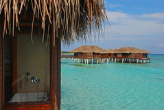 Staying in Overwater Bungalow during Vacation Stock Photography