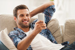 Staying in touch at home. Royalty Free Stock Photography