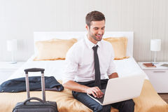 Staying in touch with office. Royalty Free Stock Images