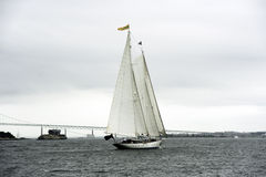 Staysail Schooner Aft view with Bridge royalty free stock photography