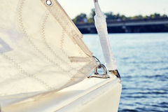 Staysail's carbine hooks on yacht Stock Photography