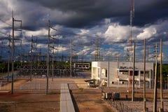 Stazione ad alta tensione di elettricità Immagini Stock