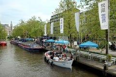 Stazione blu di crociere del canale della barca Immagini Stock Libere da Diritti