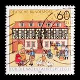 Stazione Buedingen, benessere della posta: Case storiche della posta nel serie della Germania, circa 1991 Fotografia Stock Libera da Diritti