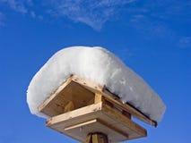 Stazione d'alimentazione per gli uccelli nell'inverno Fotografia Stock