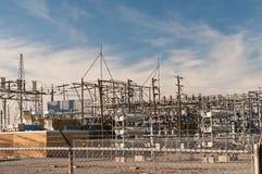 Stazione del trasformatore - sottostazione elettrica Fotografie Stock Libere da Diritti