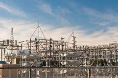 Stazione del trasformatore - sottostazione elettrica Fotografia Stock