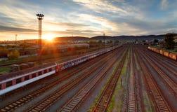Stazione del trasporto del treno - trasporto del carico Fotografia Stock